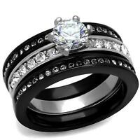 Black Stainless Steel Round Cz Wedding Promise 3 Pc Ring Band Guard Set