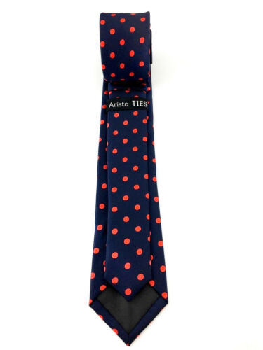 Men/'s Navy Blue Red Polka Dots Slim 6 CM Skinny Tie Dotted Thin Necktie for Men
