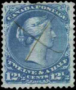 Canada-28-used-F-VF-1868-Queen-Victoria-12-1-2c-blue-Large-Queen-CV-110-00