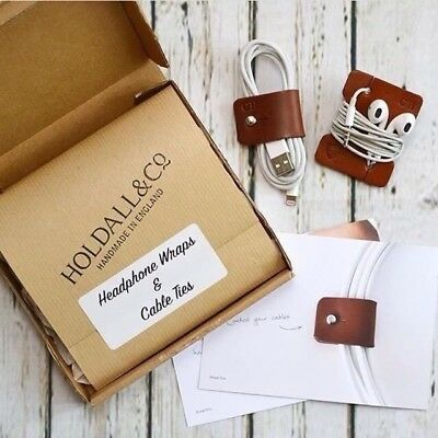 Personalised Leather Cable And Headphone Organiser Wrap Made In England