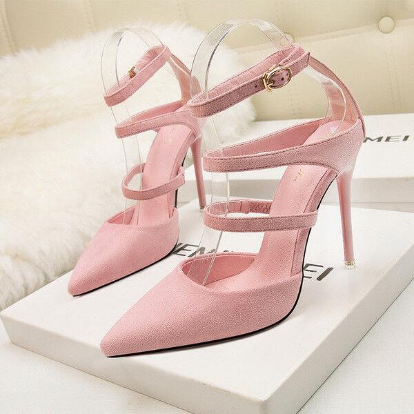 Zapatos de salón sandalias mujer 11 11 11 cm elegantes tacón aguja rosadodo como piel 9642  Envío 100% gratuito