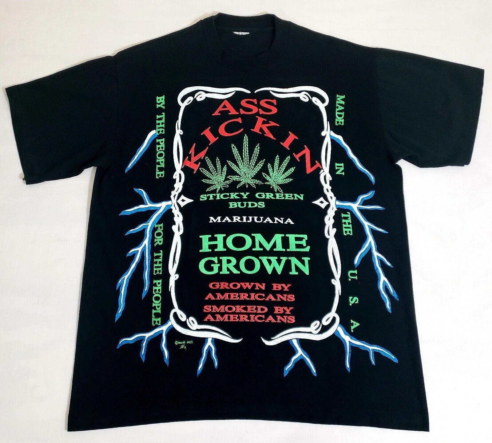 Vintage 90s MARIJUANA Ass Kickin Home Grown T-hemd Sz groß Weed Dope Rap Tee