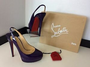 465fde1fe9a Details about CHRISTIAN LOUBOUTIN bianca Sling Purple Patent Leather Shoe  39 Uk 6 Rrp £480 Box