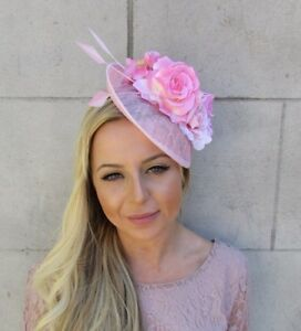 9b19c5a19b6 Baby Light Pink Feather Flower Saucer Disc Hat Fascinator Races ...