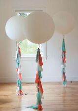 """Trio White Balloon Hand Cut Tail Tassel Garland Birthday Wedding Party 36"""""""