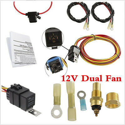 40 Amp 165 To 185 Car Dual Electric Fan Relay Wiring Harness Thermostat Sensor Ebay
