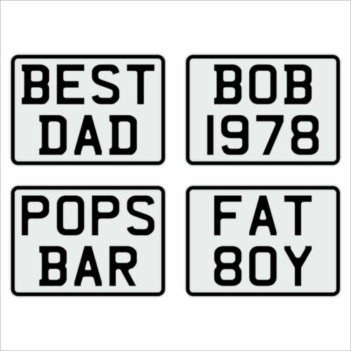 7x5 WHITE kids text age motorcycle pressed number plate bike car metal aluminium