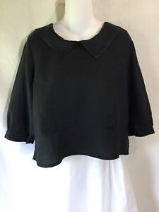 FLAX-by-Jeanne-Engelhart-Black-Linen-Lagenlook-Sailor-Tunic-Top-Pullover-Shirt-P