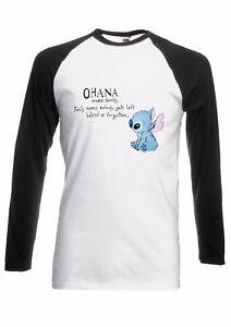 DISNEY-Lilo-E-Stitch-Ohana-Uomini-Donne-lungo-manica-corta-T-Shirt-da-Baseball-1766