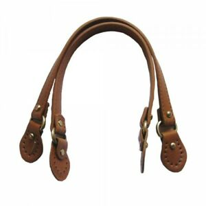 Pair-of-bag-handles-knobs-with-buckle-faux-leather-1-8x43cm-Camel