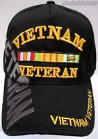 Vietnam Veteran Cap/hat W/shadow Black Military Free Shipping