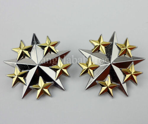 SET US NAVY SIX STAR RANK INSIGNIA BADGE PIN EAGLE BADGE