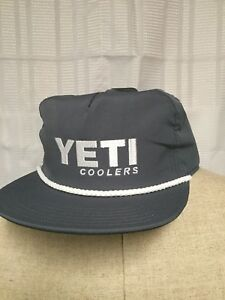 18cb54668 Details about Yeti Coolers SnapBack Hat Gray White Rope Border Brand New  With Tags