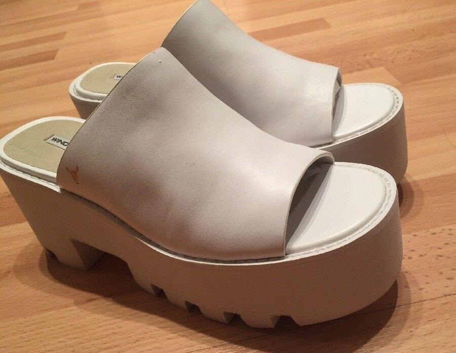 WINDSOR SMITH DRAGON Damenschuhe Weiß LEATHER CHUNKY HEEL SLIDES Schuhe Schuhe Schuhe  7 NEW 77b392