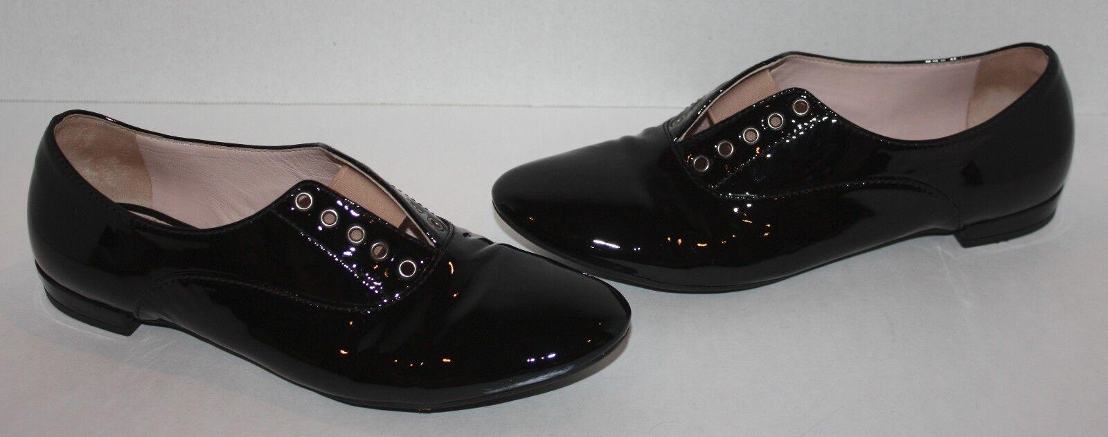 Para Mujer Mujer Mujer  495 Miu Miu Negro Patente Cuero Oxfords Flats Talla 36  productos creativos