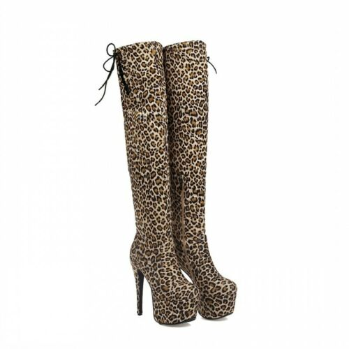 Details about  /Super High Heel Platform Stretchy Over The Thigh High Boots Ladies Shoes Club L