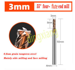 Details about  /1PC55° 4-Flute Tungsten Steel Milling Cutter CNC Machining End Mill 3*50*4*8mm