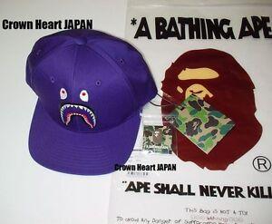 dc7d091847d1 2017 A BATHING APE SHARK SNAPBACK CAP Purple WGM Men s w Pin Auth fr ...