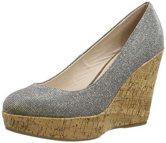 NEW CARVELA KG SIZE PEWTER 3 36 SIZE ATTEND PEWTER SIZE 36 SILVER CORK WEDGE e70cb6