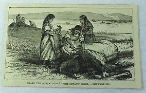 small-1883-magazine-engraving-AMERICAN-INDIAN-WOMEN-KILL-BUFFALO