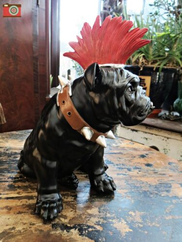 """MOHICAN DOG LARGE PUNK BULLDOG FIGURE GREAT CHARACTER /""""SPIKE/"""" GREAT GIFT~"""