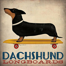 DACHSHUND SHORT SMOOTH HAIRED LONGBOARDS SKATEBOARD Retro Advert Poster (LARGE)