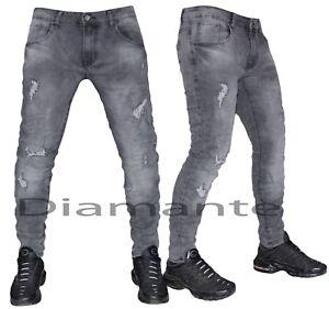 Nuovo Slim Pantaloni Strappati Denim Grigio Jeans Uomo Elasticizzati gtX0qWwx