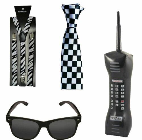 Mens 1980s Retro Ska Instant Kit Kids Inflatable Phone Glasses Braces Neck Tie