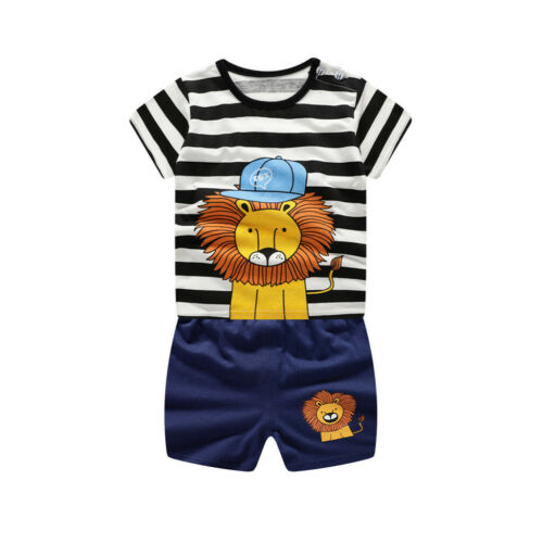 Shorts Outfit Suit Toddler Baby Boy Stripe Cartoon Printed Short Sleeve Shirt