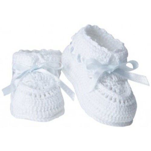 White Baby Booties Socks Unisex Bow Christening Gown Cotton Layette Crocheted