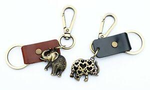 Cuero-fuerte-Llavero-Elefante-aupra-Mujer-Coche-Llavero-Regalo-de-clave-hombre-animal