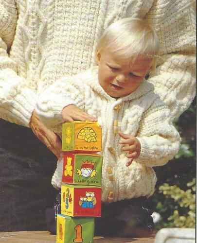 """Hooded Aran Jacket Knitting Pattern with Pockets 20-26/"""" Girls and Boys  775"""
