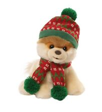 "Gund 9"" Plush BOO The World's Cutest Dog HOLIDAY HAT & SCARF (Christmas)~NEW~"