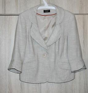 Principles-Petite-Beige-Ivory-Linen-Viscose-Jacket-Blazer-Lined-3-4-Sleeve-UK14