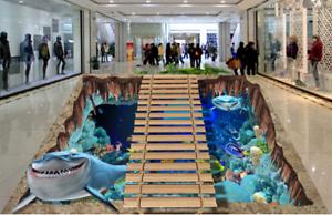 3D Shark Sea Bridge 455 Floor WallPaper Murals Wall Print Decal AJ WALLPAPER