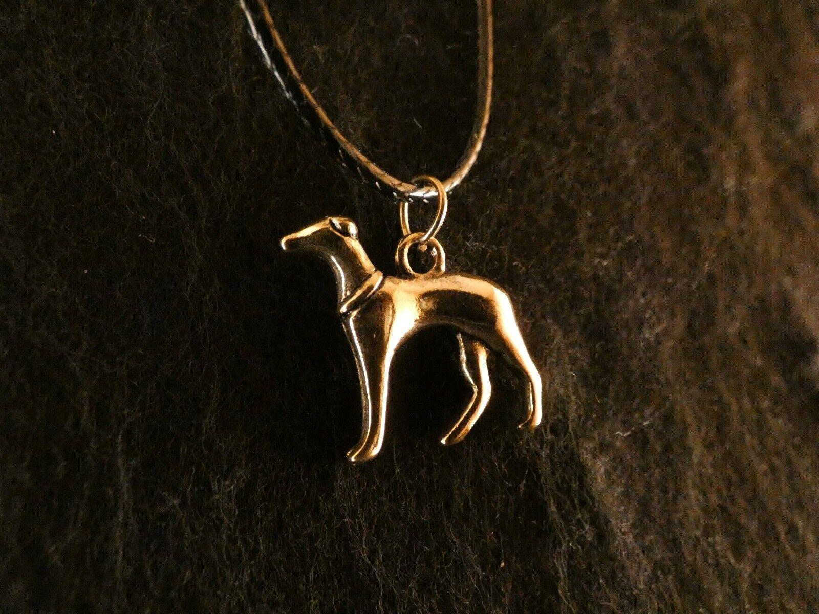 Anhänger mit Kette 24 Karat Vergoldet Windhund Hund Dog Charms