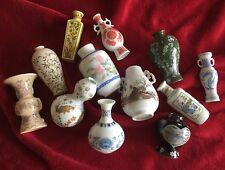 Set Of 12 Miniature Imperial Franklin Porcelain Vases Dated 1980 From Japan.