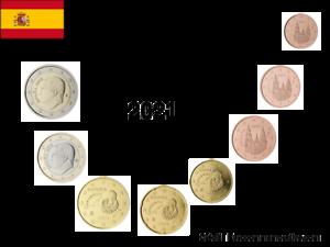 Série 8 pièces Euros Espagne 2021 - 1 centimes à 2 Euros