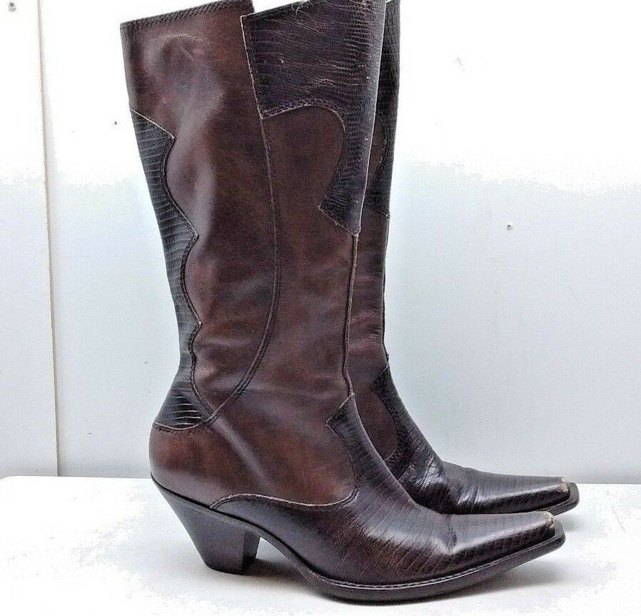 MARIA LYA Women Brown Leather reptile Print Cowboy Western Boots Casual shoes 8M
