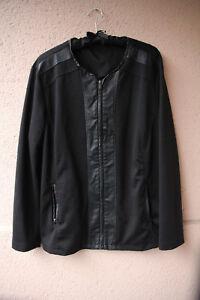 Schwarze Jacke mit Kunstlederelementen von Janina, Größe 48