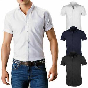 e3ee6472d9ee Detalles de Camisa de Hombre Negra en Blanco Slim Fit Media Manga Casual  Algodón Corta Veque