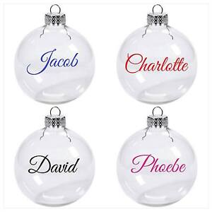 Image Is Loading Personalised Name Word Vinyl Decal Sticker Christmas Bauble