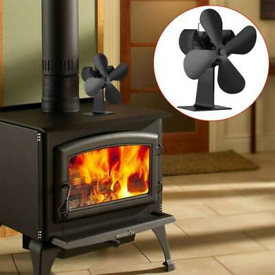 4 Blades Mini Silent Heat Self-Powered Wood Stove  Log Burner Fireplace Eco