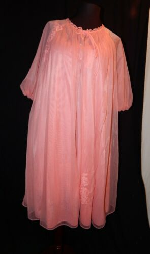 NWT NOS Flamingo Orange Peignoir Robe and Gown, #8
