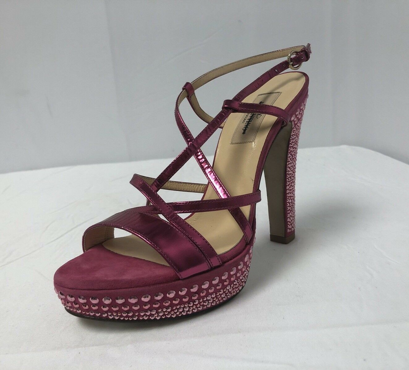 Valentino Glam Crystal Coated Rosa Suede Strappy Block Heel Pumps 37 7  1095.00
