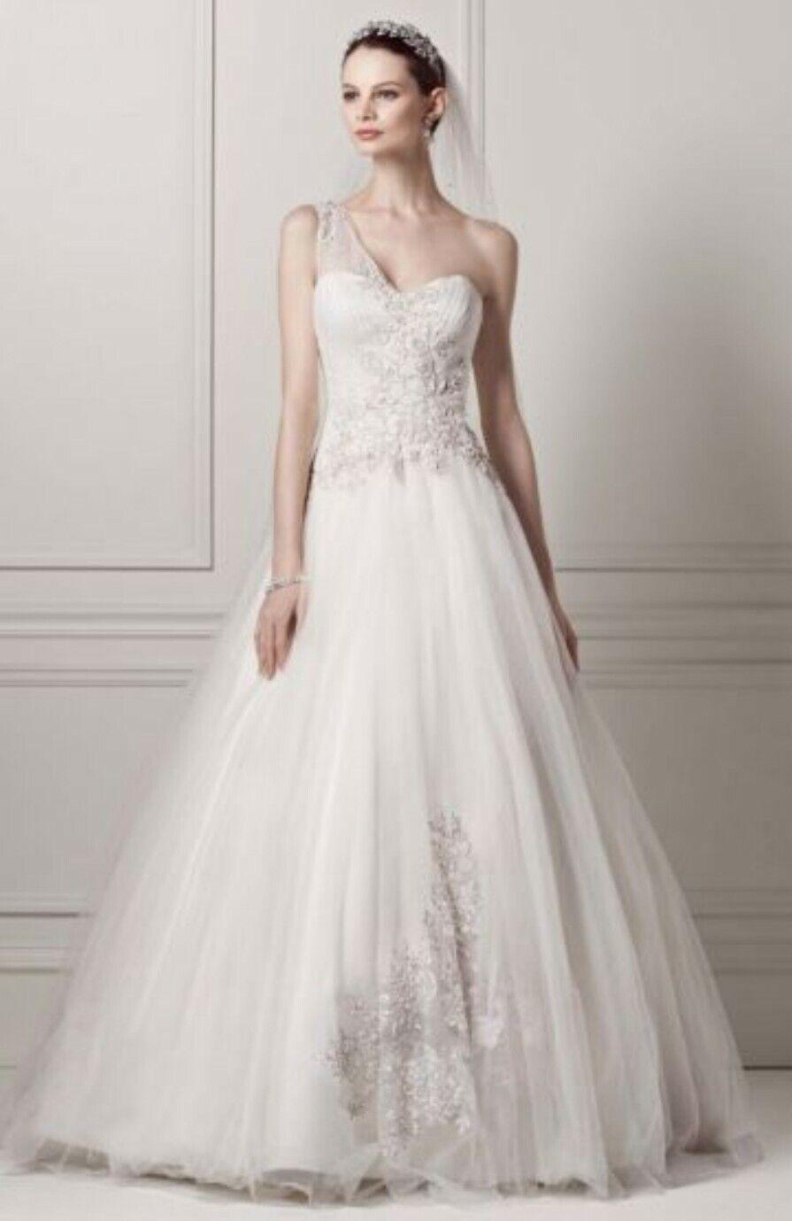 NWT - OLEG CASSINI / Tulle / One-shoulder / Bridal Wedding Dress Gown - Size 6