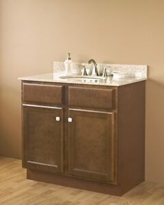 36 x 21 craftsman bristol brown bathroom vanity cabinet two doors base only - Bathroom vanity cabinet base only ...