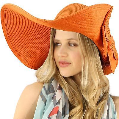 """50+ UPF Beach Summer Flip Up Down Velcro Wide 6"""" Brim Floppy Sun Hat Cap Orange"""