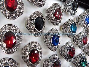 US-SELLER-12-rings-large-rhinestone-marcasite-boho-retro-jewelry-wholesale