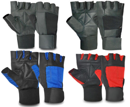 Leather Weight Lifting Fitness Gym Padded Gloves Exercise Training Wheel Chair